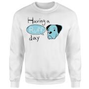Having A Ruff Day Sweatshirt - White