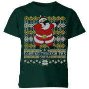Dabbing through the snow Fair Isle Kids' T-Shirt - Forest Green