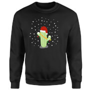 Cactus Santa Hat Sweatshirt - Black