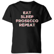 Eat Sleep Prosecco Repeat Kids' T-Shirt - Black
