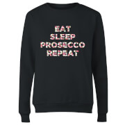 Eat Sleep Prosecco Repeat Women's Sweatshirt - Black