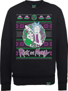 Rick And Morty Christmas Portal Men's Black Sweatshirt