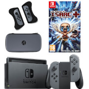 Nintendo Switch Console with Grey Joy-Con, The Binding of Isaac and Accessory Bundle