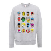 Marvel Comics Faces Colour Männer Sweatshirt - Grau