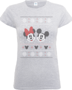 Disney Mickey And Minnie Mouse Christmas Women's Grey T-Shirt