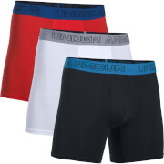 Under Armour Men's 3 Pack Charged Cotton 6 Inch Boxerjock - Red/White/Black