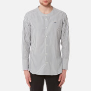 Vivienne Westwood MAN Men's Hickory Stripe Low Neck Shirt - White/Blue