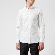 Maison Kitsuné Men's Tricolor Fox Patch Oxford Shirt - White