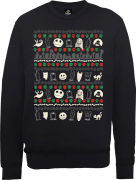 The Nightmare Before Christmas Jack Sally Zero Faces Black Sweatshirt