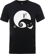 Disney The Nightmare Before Christmas Jack And Sally Moon Black T-Shirt