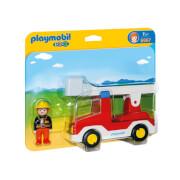 Playmobil 1.2.3 : Camion de pompier avec échelle pivotante (6967)