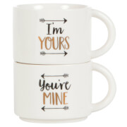 Sass & Belle Set of 2 You're Mine and I'm Yours Stacking Mugs