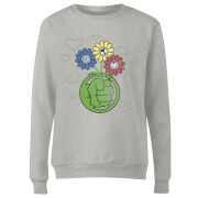 Marvel Avengers Hulk Flower Women's Sweatshirt - Grey