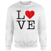 Love Heart TextuRot Pullover - Weiß