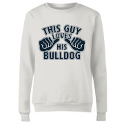 This Guy Loves His Bulldog Frauen Pullover - Weiß