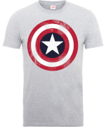 Marvel Avengers Assemble Captain America Distressed Shield T-Shirt - Grey