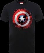 Marvel Avengers Assemble Captain America Art Shield Badge T-Shirt - Black