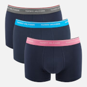Tommy Hilfiger Men's 3 Pack Trunk Boxer Shorts - Peacoat/Smoked Pearl/Vivid Blue/Aurora Pink