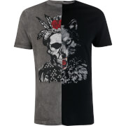 Brave Soul Men's Genre Splice T-Shirt - Black/Grey