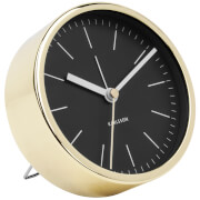 Karlsson Minimal Alarm Clock - Black with Shiny Gold Case