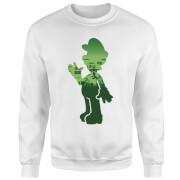 Sweat Homme Super Mario Luigi Silhouette - Nintendo - Blanc