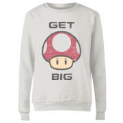 Nintendo Super Mario Get Big Mushroom Women's Sweatshirt - White