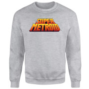Nintendo Super Metroid Retro Logo Colour Sweatshirt - Grey