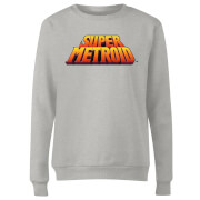 Nintendo Super Metroid Retro Logo Colour Women's Sweatshirt - Grey