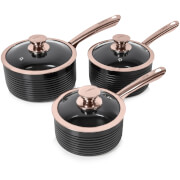 Tower Linear 3 Piece Saucepan Set - Black/Rose Gold