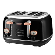 Tower T20017 4 Slice Toaster - Black/Rose Gold