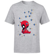 Marvel Deadpool Cartoon Knockout T-Shirt - Grey