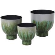 Broste Copenhagen Eik Iron Flowerpot - Drizzle Chinos Green (Set of 3)