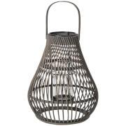 Broste Copenhagen Twist Bamboo T Light Lantern - Dark Grey