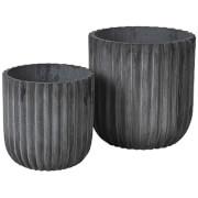 Broste Copenhagen Indoor/Outdoor Fiberclay Flowerpot - Charcoal (Set of 2)
