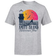 Jaws Welcome To Amity Island T-shirt - Grijs