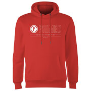 Primed Logo Graphic Print Hoodie - Red