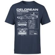Back To The Future DeLorean Schematic T-Shirt - Navy
