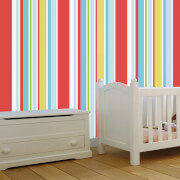 Disney Red Long Island Stripe Wallpaper
