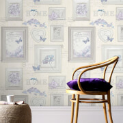 Fresco Beige/Natural Vintage Frames Floral Wallpaper