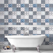 Contour Blue/White Porches Tiled Bathroom/Kitchen Wallpaper