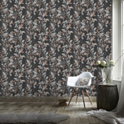 Boutique Charcoal/Copper Vermeil Floral Wallpaper