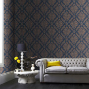 Boutique Blue/Gold Damaris Damask Wallpaper