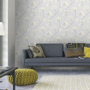 Superfresco Easy Grey/Ochre Radiance Floral Wallpaper