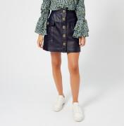 MICHAEL MICHAEL KORS Women's Leather A Line Skirt - Navy