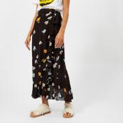 Ganni Women's Dainty Georgette Skirt - Black