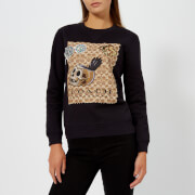Coach 1941 Women's Black Sweatshirt with Signature Print On The Front - Dark Shadow