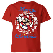 Nintendo Super Mario Merry Christmas Kids' T-Shirt - Red