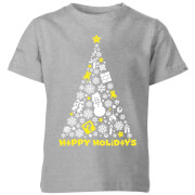 Nintendo Weiß Christmas Happy Holidays Kinder T-Shirt - Grau