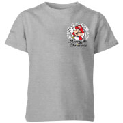 Nintendo Super Mario Mario Merry Christmas Pocket Wreath Kinder T-Shirt - Grau