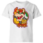 Nintendo Super Mario Bowser Kanji Kids' T-Shirt - White